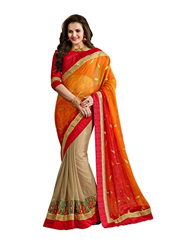 Chigy Whigy Orange And Beige Brasso And Net Party Wear Sarees
