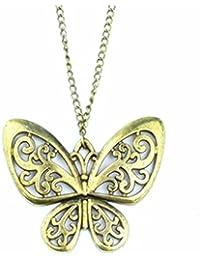 Style Vintage Rétro Bronze Papillon Pendentif Avec la chaîne collier
