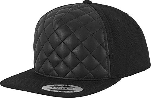 Leder Imitat Trend Design Flexfit Cap Mütze Hut Kappe Damen Herren Diamond Diamanten Muster Karo Kariert schwarz Fashion (Kostüm Junge Kleiner Baseball)