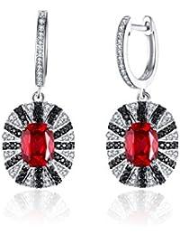 JewelryPalace 925 de plata de ley de lujo de lujo de 7,1ct creado rojo rubí sólido negro natural Spinel cuelga aro pendiente