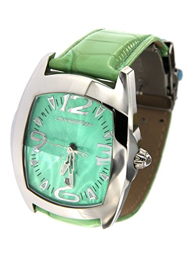 Chronotech Women's Only Time Steel Case Watch with Leather Strap Glossy Green