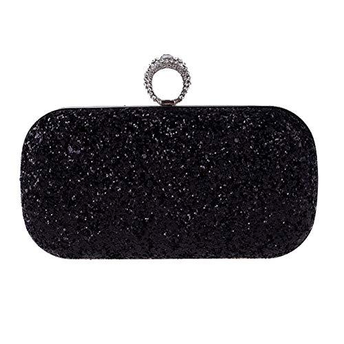 FULANQI Damen Abendtasche Europa und Amerika Diamant Abendessen Clutch Bag Super Flash Ring Tasche Hard Box Kette Small Square Bag,Black