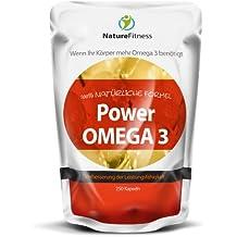 Nature Fitness Cápsulas Omega 3 de 1000 mg, alta densidad, 250 unidades