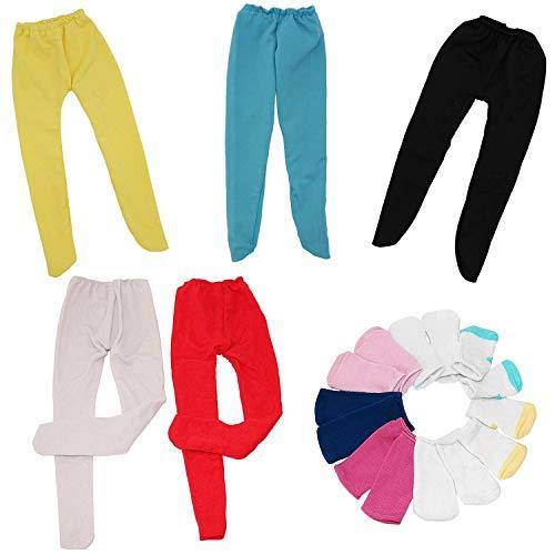ZITA ELEMENT 5 Stück Strümpfe mit Socken Leggings Strumpfhosen für American 18 Zoll Girl Doll und 43cm-46cm Puppen Kleidung Strumpfhose Söckchen ()