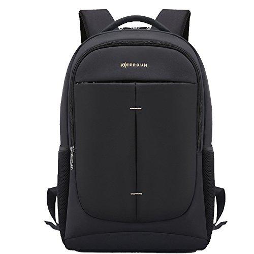 Cedaract Keerdun zaino impermeabile anti-furto del computer portatile fino a 17,3 pollici Borse per PC portatili (Nero)