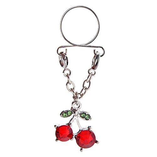 Bodya 1pc anallergico sexy cherry red drop con zircone cz anelli in acciaio inox con capezzolo catena barbell shield bar rodless nipplerings piercing gioielli per donna ragazza