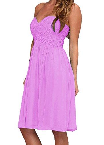Find Dress Femme Sexy Robe de Soirée/Cocktail/Cérémonie Robe Col en Cœur Lacet sans Manches Courte en Mousseline de Soie Lilas