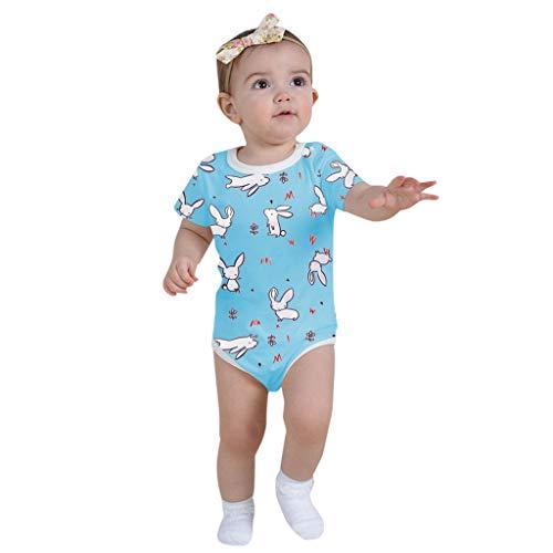 Lucky Mall Ostern! Kleinkind Kid Rabbit Bodysuit gedruckt, Baby Cartoon Spielanzug Sommer Kurzarm Kostüm ()