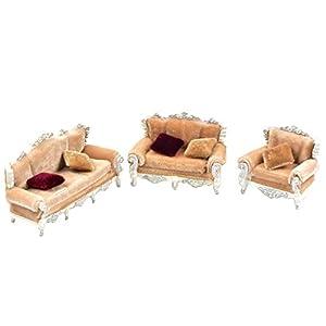 D DOLITY 1/25 Puppenmöbel Sofa Möbel Set für Puppenhaus Puppenstube Wohnzimmer - Grau
