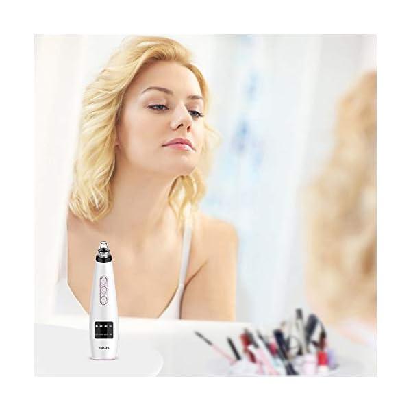 Limpiador de Poros, TURATA Eliminador de Puntos Negros 5 Niveles de la Succión con USB Carga Portátil para Eliminación de Espinillas y Acné,5 cabezas reemplazables kit eliminación (Morado)