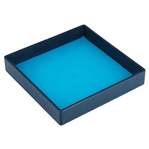 DUDU Taschenleerer aus Leder Bunt Design für den Eingang Ablageschale mit Geschenkbox Blau -