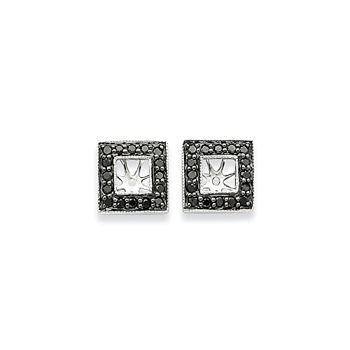 Gold-diamant Quadratischer Ohrringe (14K Weiß Gold Schwarz Diamant Quadratisch Jacke Ohrringe, Diamant ctw 0,482)