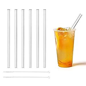 RMAN 23cm Glas Strohhalme Wiederverwendbar Trinkhalm aus Hochstabilem Laborglas, Gesund, Umweltschonend, frei von BPA für Cocktail, Smoothies, Saft usw. - Transparent, 6 Stück + 2 Reinigungsbürste
