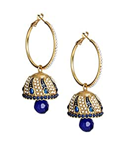 Imperial Indian Faux Kundan Hoop Earrings Jhumkas Jewellery for Women & Girls