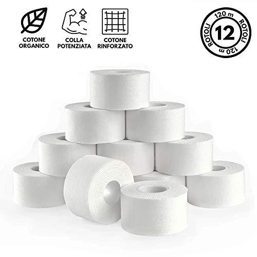 TAKE SPORT, Tape sportivo, Tape crossfit, Nastro Adesivo, Sport Tape. 12 rotoli 3,8 x 10m, 100% Cotone, Bordo Zig Zag, Non elastico. Bianco (12)