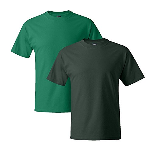 Hanes Mens 5180 Short Sleeve Beefy T, 1 Deep Forest/1 White 1 Deep Forest / 1 Kelly Green