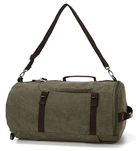 WOMJIA Reisetsache Sporttasche Weekender Tasche Handgepäck aus Canvas Segeltuch Vintage 40 Liter Grün