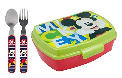 nchbox / Sandwich Box wählbar: Spiderman - Superman - Batman - Thomas - Mickey Kunststoff BPA frei - Geschenk für Jungen (Mickey 3 Teile: Gabel + Löfel + Box) ()