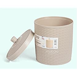 The Storage Basket/Box/ with Lid (Material: Plastic, Small - 2.5 Litre, Colours : Beige)