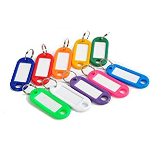 AmgateEu 120 PCS Assorted Colors Key ID Tags with Lable, Keychain Ring Holder
