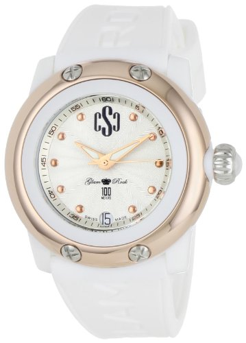 Glam Rock Women's GR64004 Miami Beach Silver Dial White Silicone Watch