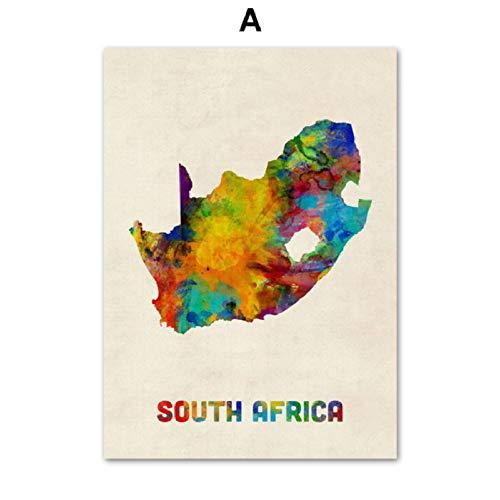 XWArtpic Griechenland Thailand Chile Fidschi Aquarell Karte Wandkunst Leinwand Malerei Nordic Poster Und Drucke Wandbilder Für Wohnzimmer Dekor A 30 * 40 cm