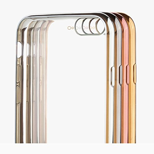 Trendcell TPU Luxus Silicon Hülle für iPhone 8 PLUS / iPhone 7 PLUS Case Tasche Schutzhülle Cover mit farbigen Rahmen Frame in anthrazit (schwarz) Silber