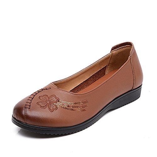 Chaussures plates avec ma mère/ chaussures peu profonds de fond mou/ old shoes femmes/Vent chinois vintage chaussures femme C
