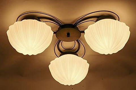 Damjic American Style Dorf Bügeleisen Deckenleuchte Schlafzimmer Wohnzimmer Im Europäischen Stil Deckenleuchte Ländlichen Shell Deckenleuchte 3 Köpfe Von Gelben Licht