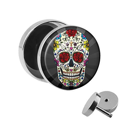 r zum Schrauben - bunter Mexican Sugar-Skull Toten-Kopf - schwarz-grau - Motiv Fake-Plug Ø 10mm Silber - Edel-Stahl Ohr-Ringe - Chirurgen-Stahl Fake-Tunnel - Gewinde Ohr-Stecker ()
