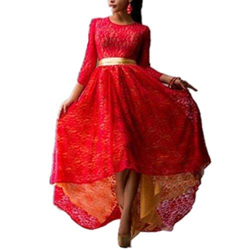 SHUNLIU Damen Elegant A-Linie Abendkleid Lang Klieder Harness Kleid Chiffon Rock Langes Rot