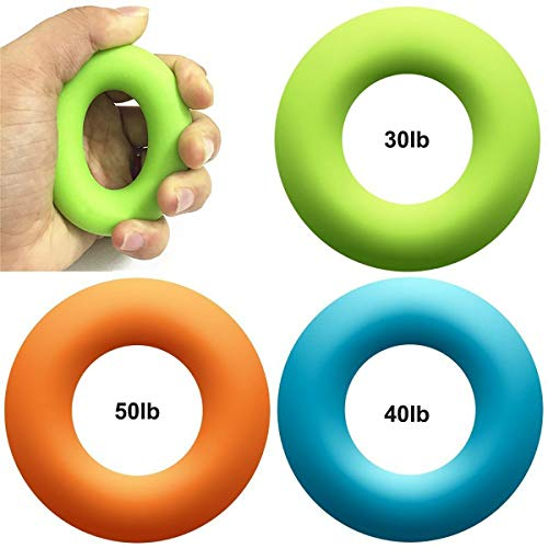 KACOOL Hand Grip, Forearm and Finger Strengthener Exercise Grip Rings Stress Relief Squeeze Balls Fitness Training for Muscle Built, Physical Therapy, Stress Relief (Set of 3, 30, 40, and 50 pounds)