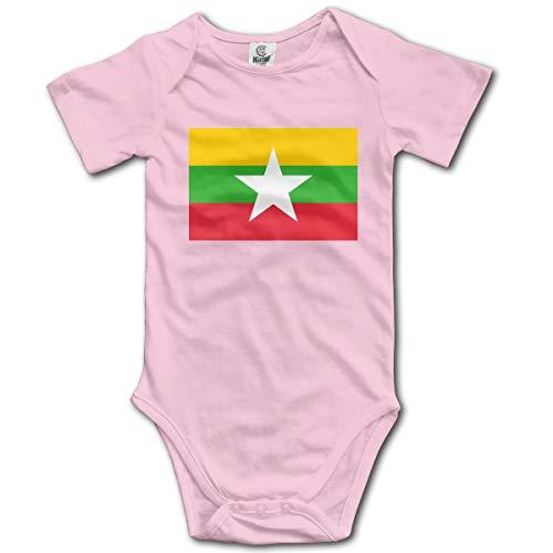 Louis Berry Flagge von Myanmar, Baby Kurzarm Strampler Baby Body Neugeborenen Overall Strampler Sleeper Pyjamas Pjs