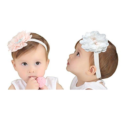 JMITHA 2 Stück Baby Stirnbänder Baby Mädchen Kids Turban Haarband Stirnband Kopfband Baby schmuck Babyschmuck Babygeschenke & Taufe (M - für 6 Monate-4 Jahre alt Baby)