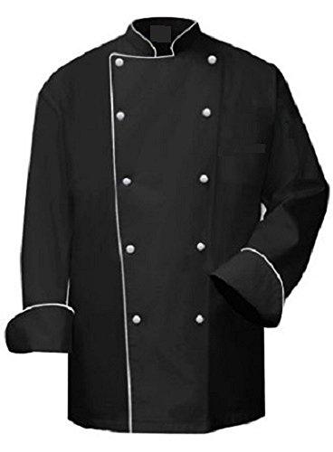 Kontrast-trim-taste (Kochjacke, schwarz mit weiß Rand, Kontrast Paspelierung, Bankett-Coat, Unisex, New, ins08a, Schwarz, INS08B)