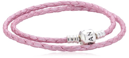 Pandora Damen-Armband Leder rosa doppelt gewickelt 38 cm 590705CMP-D2 (Leder 9 Leder-gewickelt)