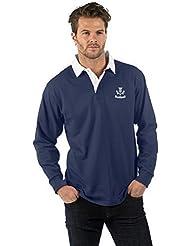 Escocia Thistle Cardo de Manga Larga Camisa de Rugby - Scotland Thistle Long Sleeve Rugby Shirt - Color Azul Marino - XS to 2XL