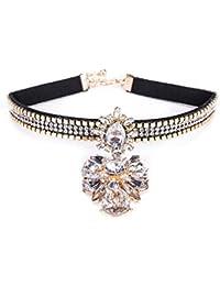 cefd9c694f97 Lady Choker Con Flor Pendiente De Moda De Diamantes Elegante Collar  Clavicular Cadena Moda Traje Joyería