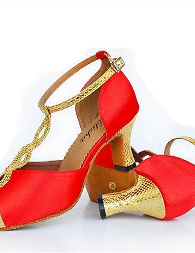 ShangYi Chaussures de danse(Noir / Rouge) -Personnalisables-Talon Aiguille-Cuir-Latine / Moderne Black