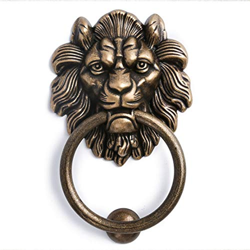 Lion Ring-pull (Vintage Solid Wood Gate Ring Bestie Head Copper Handle Ancient Building Villa Outdoor Lion Head Pull Ring Handle Antique Door Dekoration)