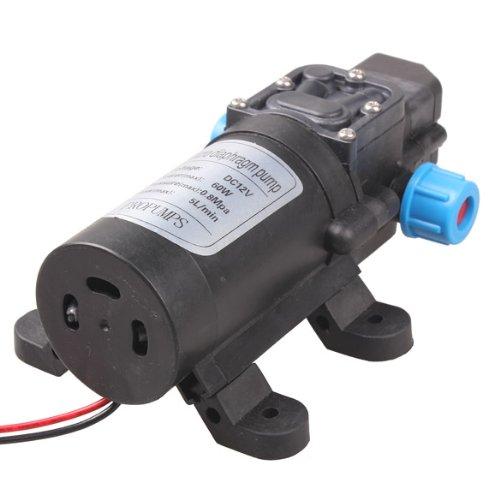 Vktech DC 12V 60W High Pressure Micro Diaphragm Water Pump Automatic Switch 5L/min Test