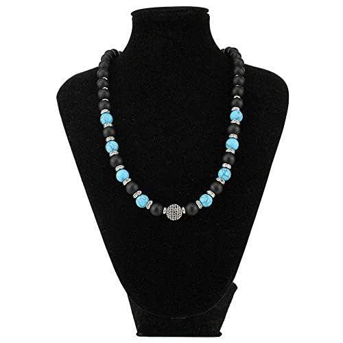 Collana pietre dure Naturali Onice nero Opaco e Turchese azzurro