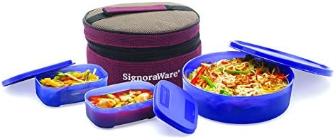 Signoraware Classic Plastic Lunch Box Set with Bag, 800ml, Deep Violet