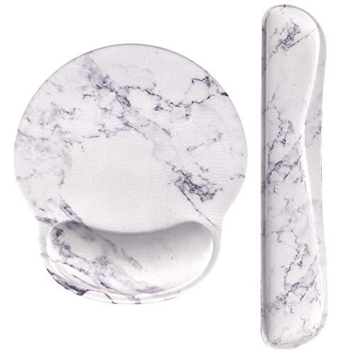 Haocoo Mauspad und Tastatur Handgelenkstütze Set Ergonomie,rutschfeste Gummiunterseite aus Memory-Schaum komfortables Mauspad Reduziert die Handgelenkbelastung (Weiß Marmor)