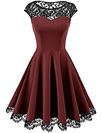 Homrain Damen 1950er Elegant Spitzenkleid Rundhals Knielang festlich Cocktail Abendkleid