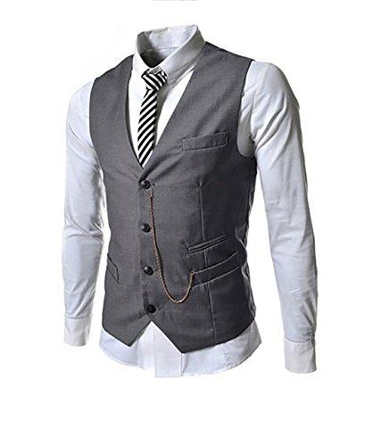 Herren 4 Knopf Anzugweste mit Schlaufe und V-Ausschnitt Hochzeit Smoking (2X-Large, grau)