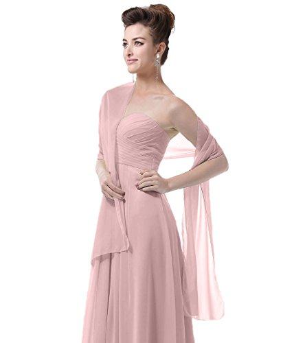 EnjoyBridal®châle/écharpe/foulard élégante en mousseline de soie pour robe de Cérémonies Fêtes Mariage Blush