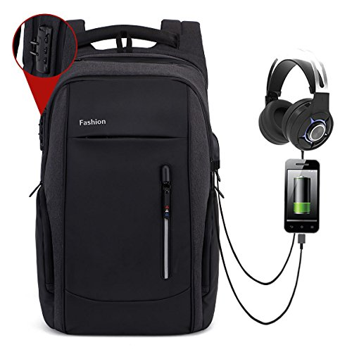 17 / 17.3 pouces Sac à Dos Ordinateur Portable, KOBWA Imperméable sac a dos antivol Sacoche pc Portable Knapsack Backpack avec USB Charging et Headpho...