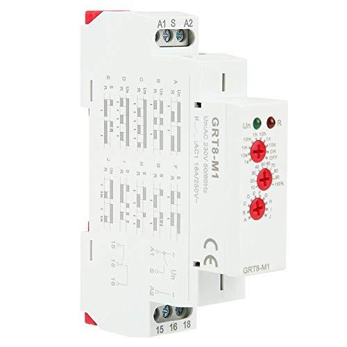 Zeitrelais Schalter AC 220V GRT8-M1 Multifunktionale Hutschienenmontage 10 Funktionen LED Anzeigen für Industrieanlagen -