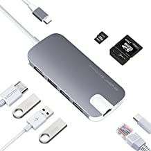Adaptador USB C Hub a Gigabit Ethernet ,HDMI 4K UHD, Lector de Tarjetas SD/TF, 3 USB 3.0 Puertos con PD Cargar 49W Multipuerto Adaptador Tipo C Hub para Macbook Pro, ChomeBook Pixel, HP Spectre x360 (Gris)